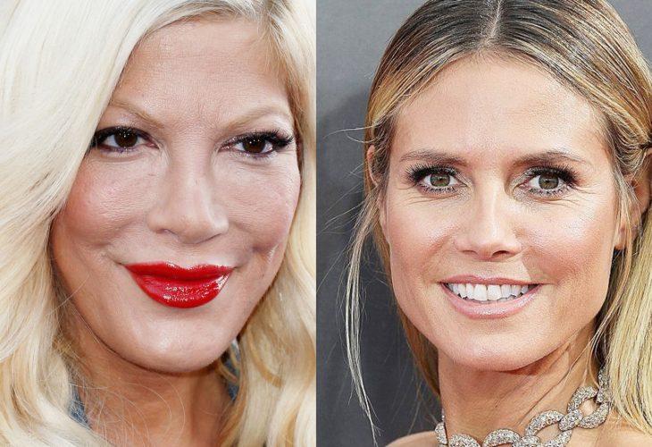 Tori Spelling y Heidi Klum comparación