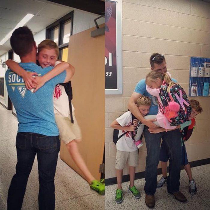 niños abrazan a su papá