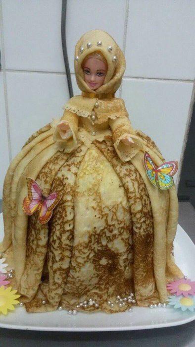 barbie con vestido de hotcake
