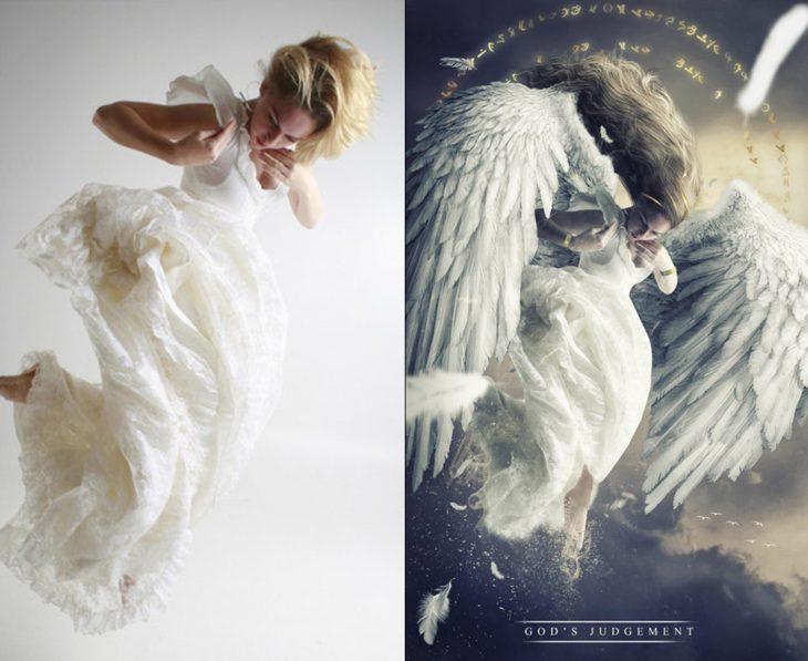 photoshop antes y después de un ángel