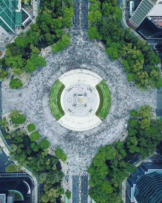 Ángel de la Independencia en Ciudad de México vista aérea