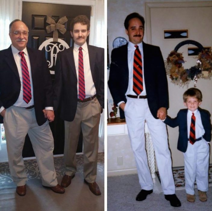 recreación de foto señor y su hijo en traje
