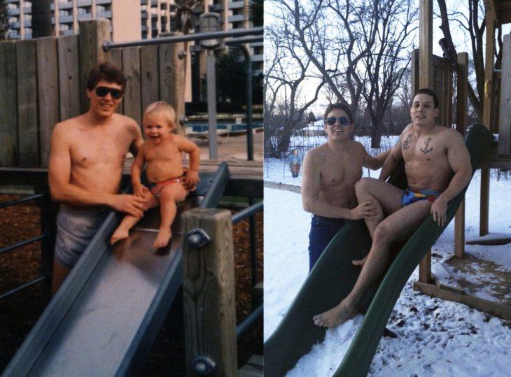 recreación de foto: hombre y su hijo en la resbaladilla