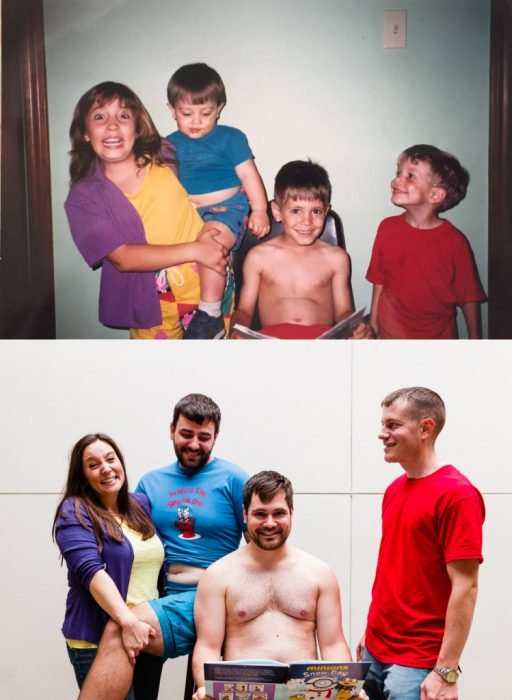 foto recreada de 4 hermanos