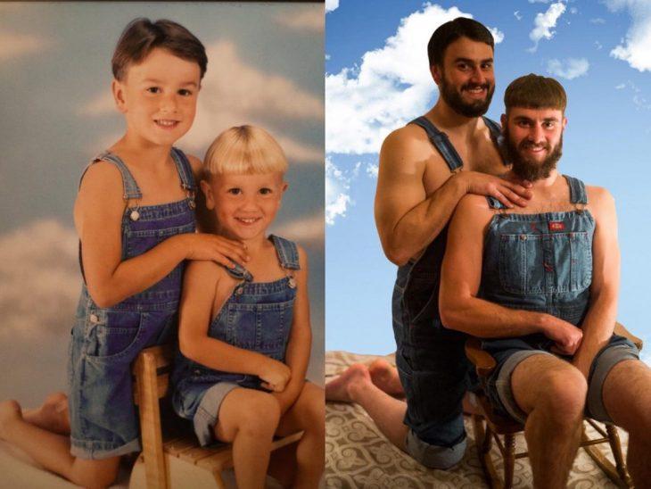 foto recreación de dos hermanitos con overol