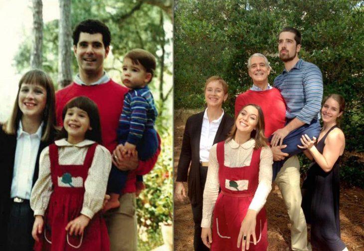 recreación de foto de papá y sus hijos