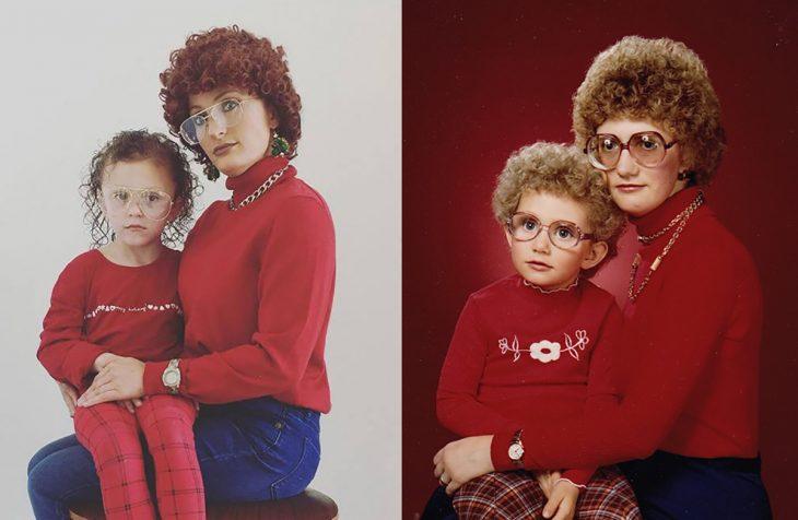 recreación madre e hija con peinado chistoso