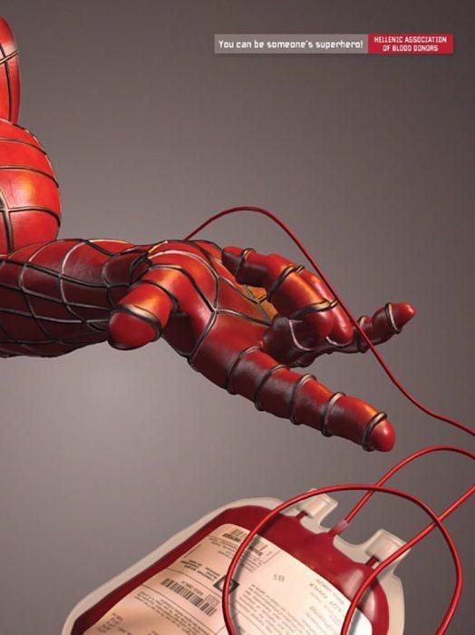 campaña de donación de sangre: spiderman