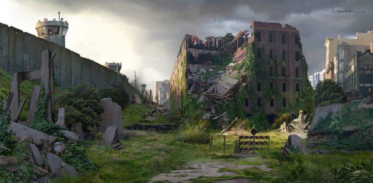 ciudad abandonada cubierta de vegetación