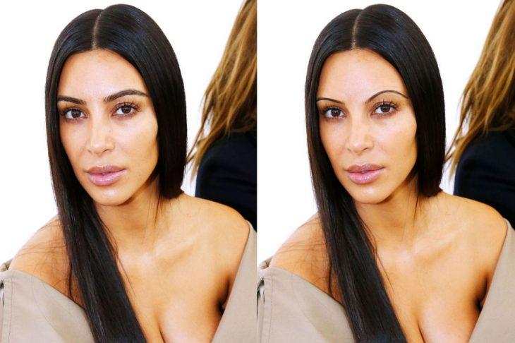 Kim Kardashian con cejas de los 90