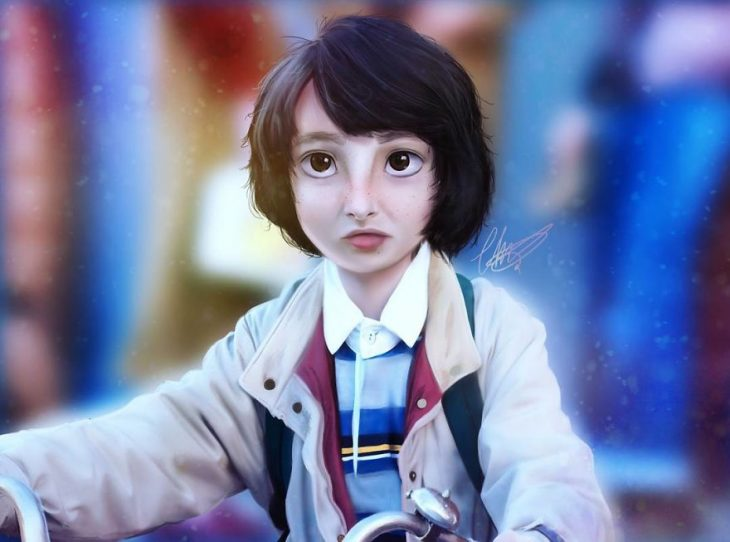Mike de stranger things estilo anime