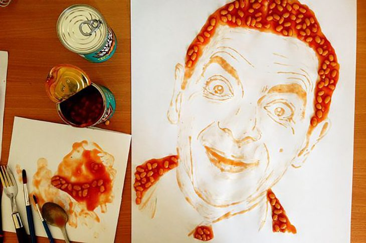 Mr. Bean hecho de frijoles
