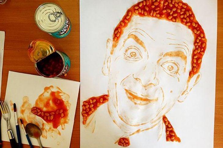 Mr. Bean hecho de frijoles