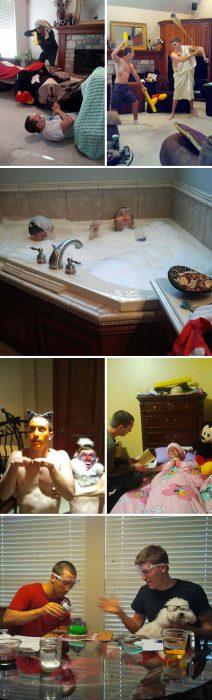 chicos divirtiéndose mientras cuidan una casa