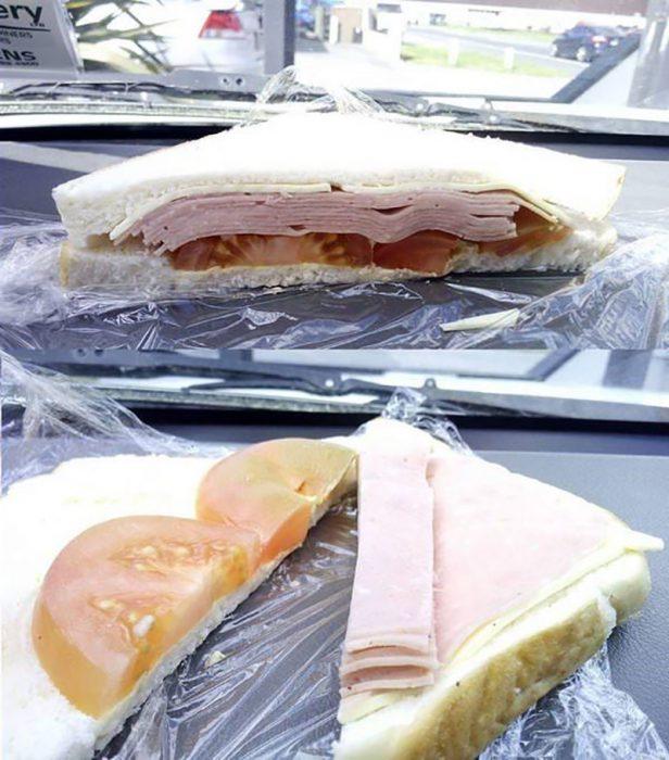 sandwich que engaña