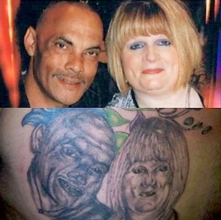 tatuaje mal hecho de una pareja