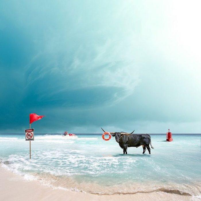 imágen surrealista de un toro en el mar