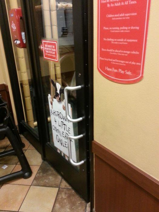 puerta que tiene dos manijas, una para adultos y otra para niños