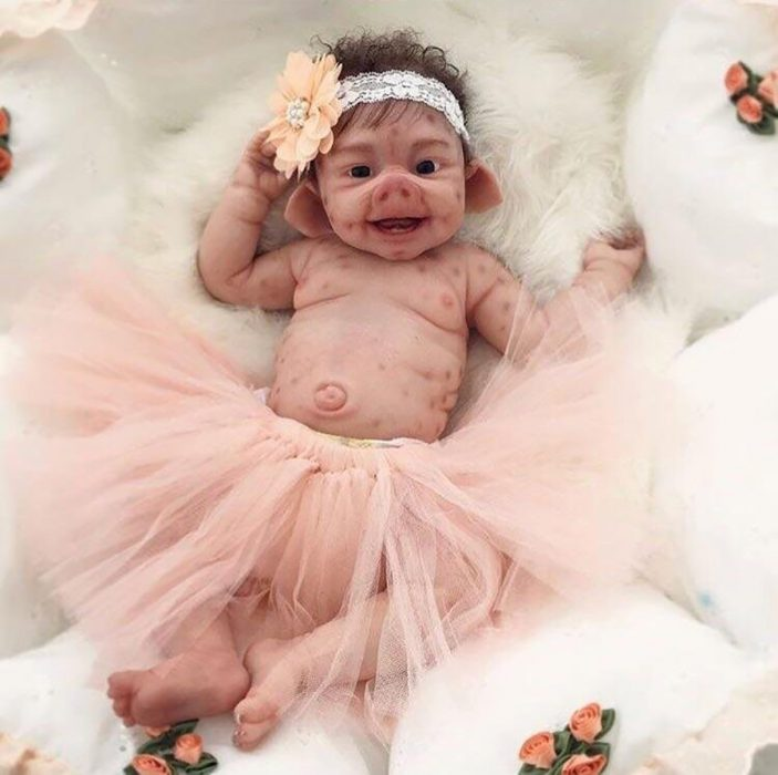 bebé reborn mitad cerdo
