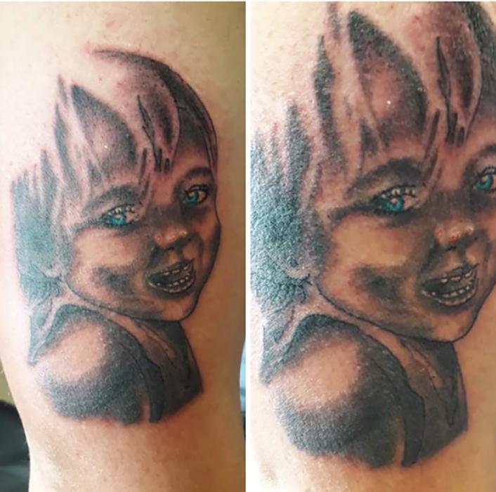 tatuaje mal hecho de un niño