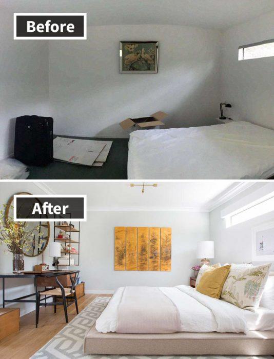 habitación antes y después de ser remodelada