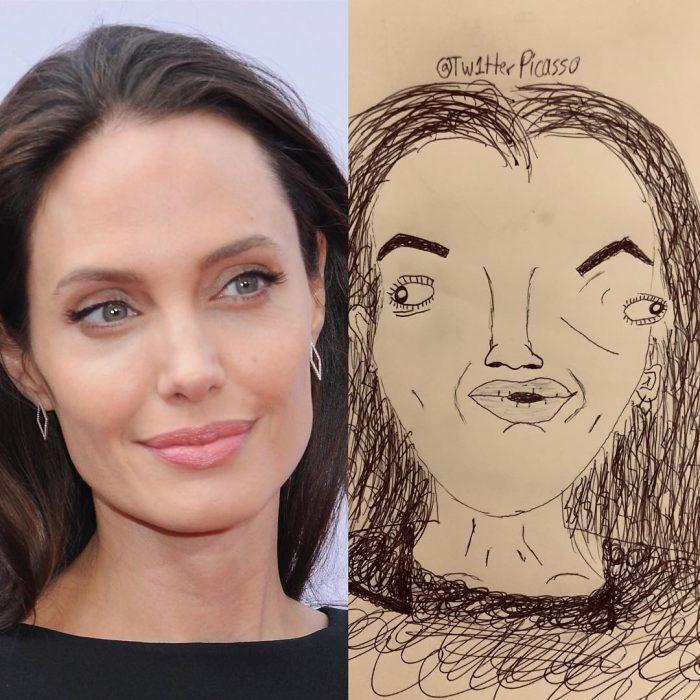 retrato feo de Angelina Jolie