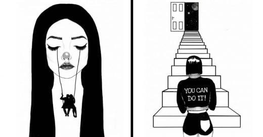 Cover Ilustraciones que reflejan el dolor de una mujer con el corazón roto