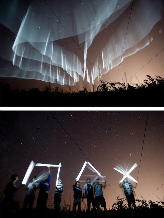truco con luces led para crear auroras boreales