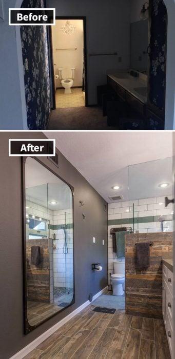 remodelación de cuarto de baño, espejo chido