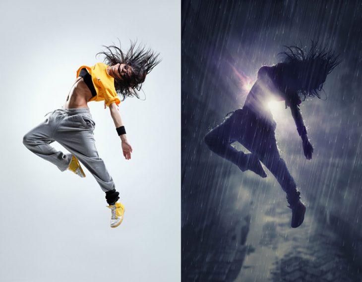 photoshop antes y después mujer bailando bajo la lluvia