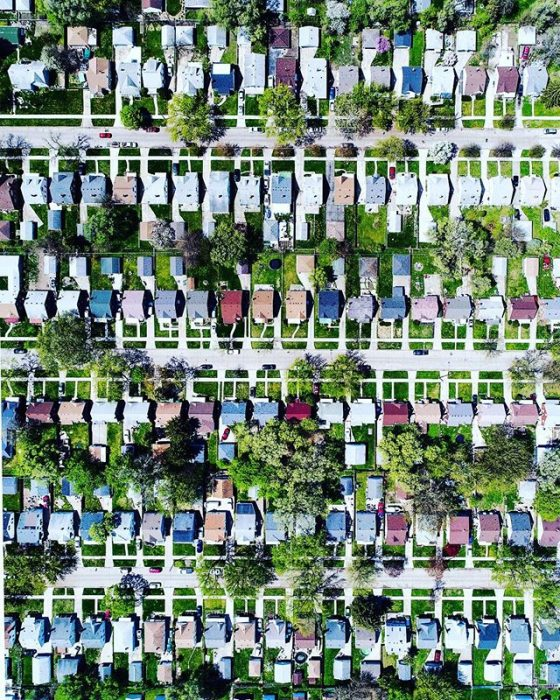 foto aérea de Barrios pobres de Detroit