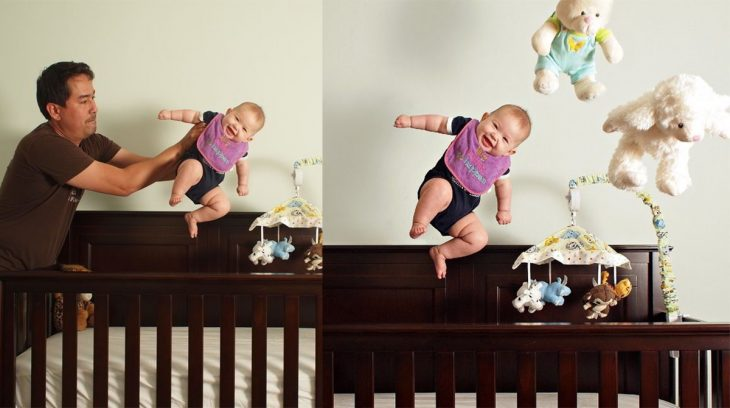 truco de foto bebé volando