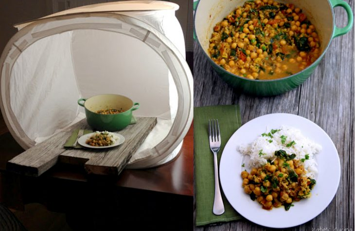 antes y después de truco para fotografiar comida