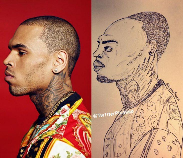 retrato feo de Chris Brown