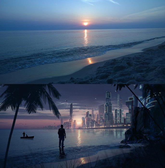 photoshop de ciudad del futuro