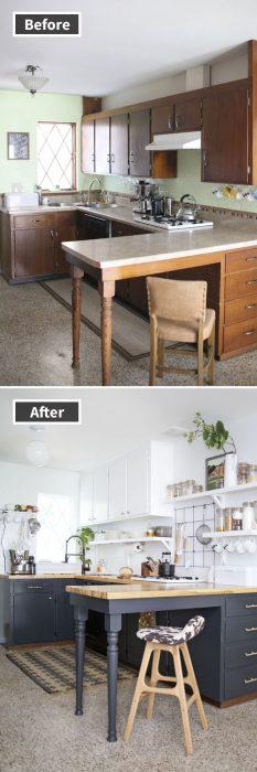 remodelación de cocina y barra de alimentos