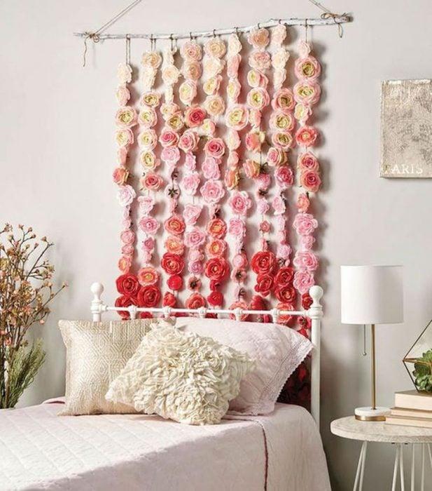 cortina de rosas de cabecera