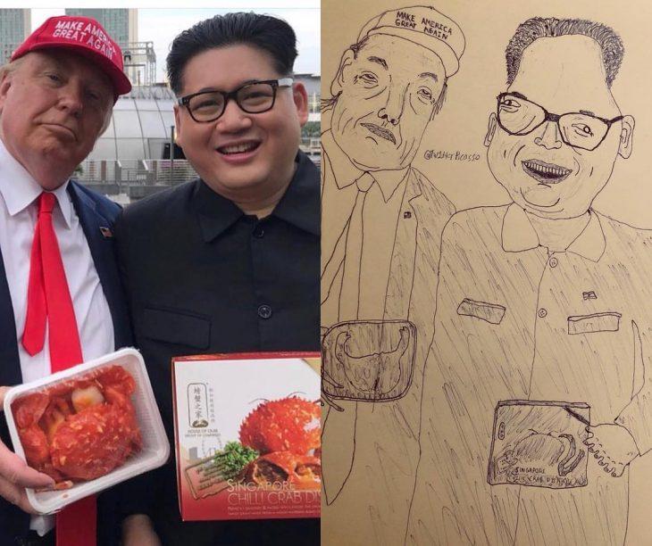 retrato feo de Donadl Trump y Kim Jong-un