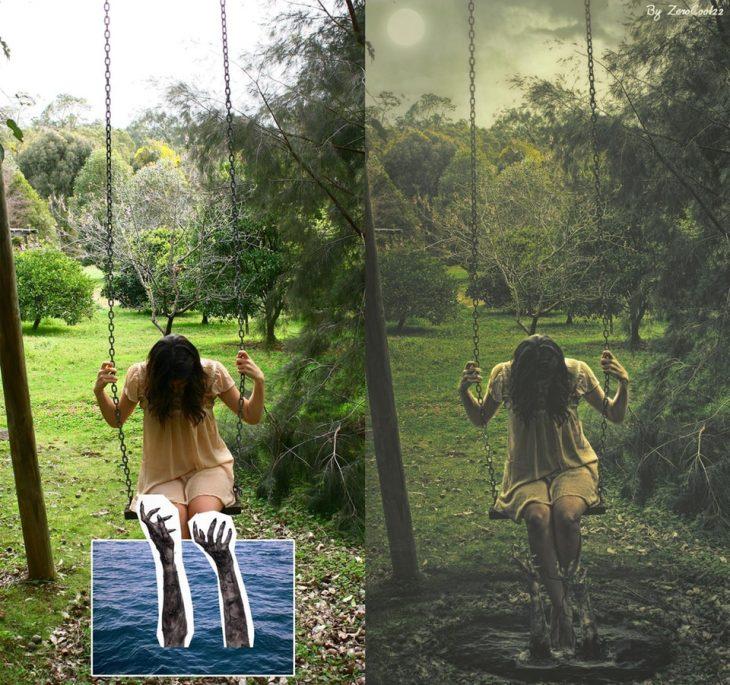 photoshop d eimagen de miedo antes y después