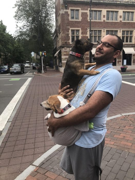 humando cargando perritos
