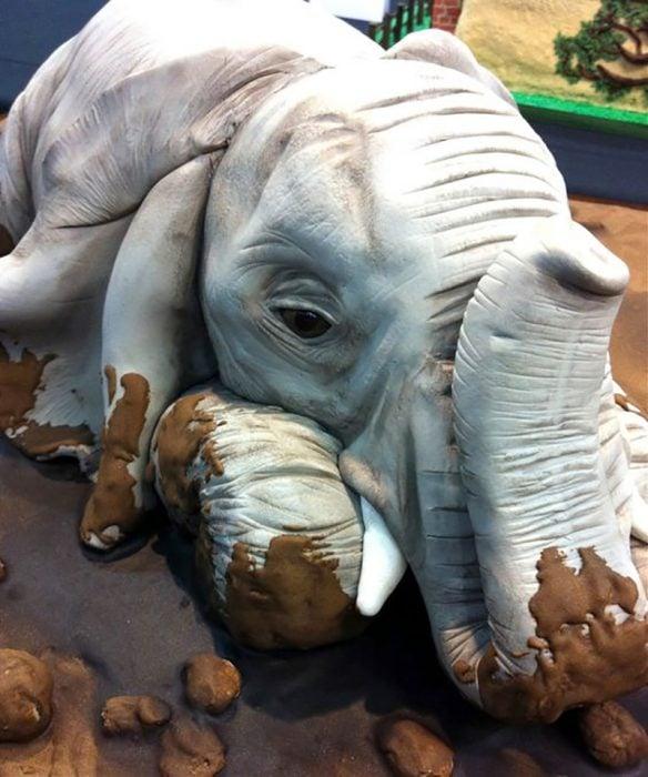pastel hiperrealista de elefante