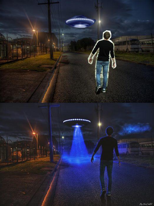 photoshop de encuentro con un alien