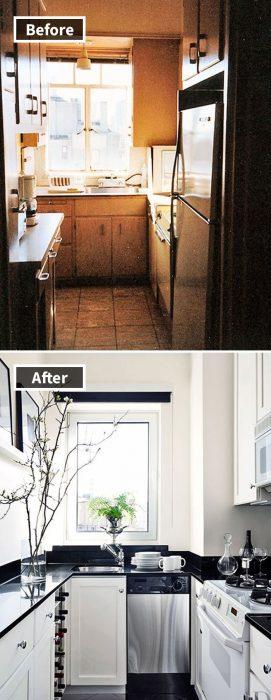 remodelación de cocina en espacio pequeño