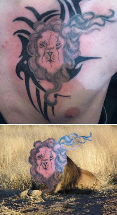 tatuaje feo de león