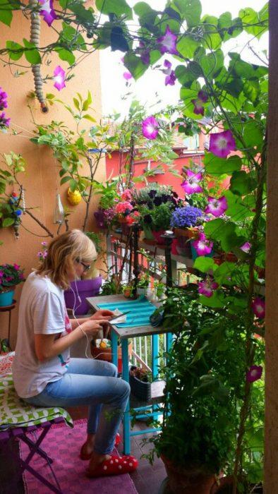 balconcito con enredaderas de flores