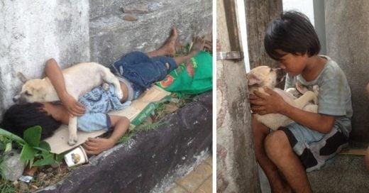 Cover Niño adopta a un perro de la calle para evitar estar solo y ahora los mejores amigos