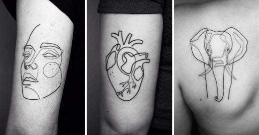 Cover tatuajes minimalistas hechos con una sola línea