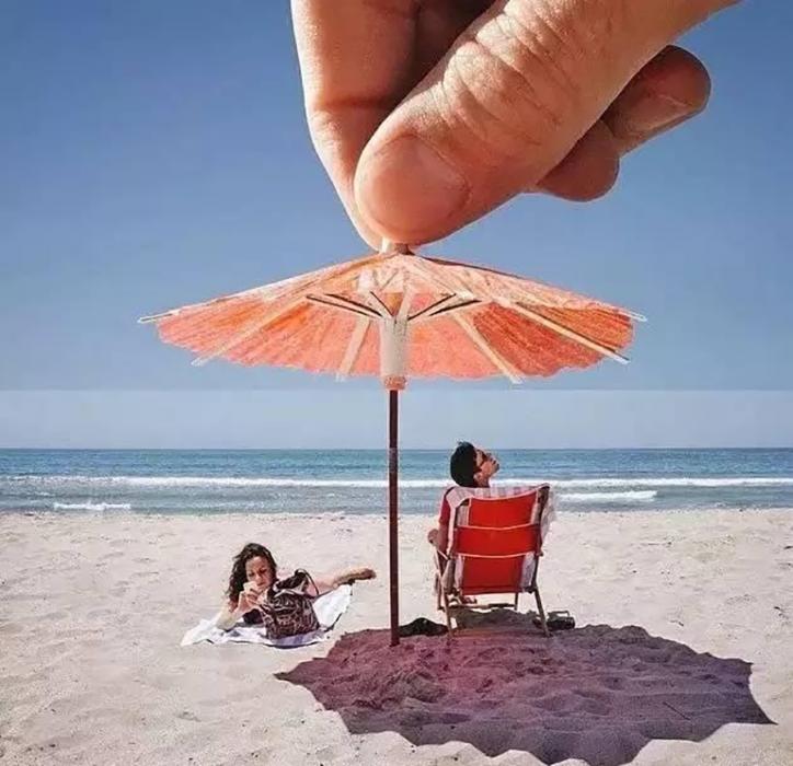 fotos con juego de perspectiva en la playa