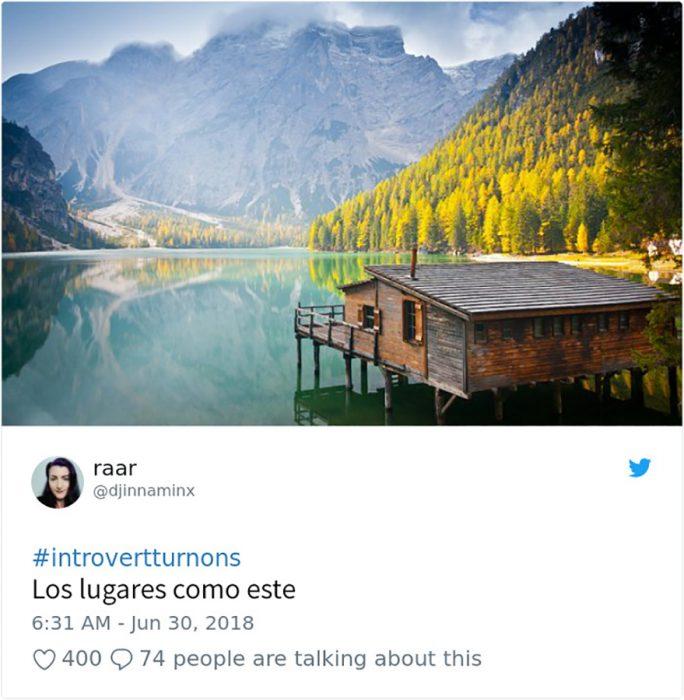 cabaña en un lago