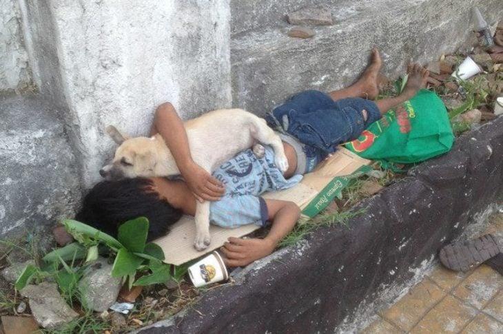 niño sin hogar adopta perr